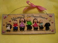 7 CHARACTER 3D PERSONALISED FAMILY SIGN HANDMADE PERSONALISED & UNIQUE PLAQUE OOAK